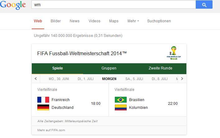 WM Suche bei Google
