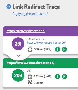 Screenshot von Link Redirect Trace